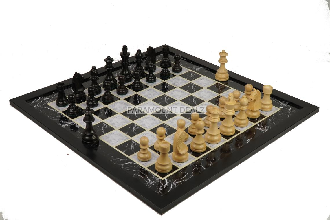 """Wooden Laminated 19"""" Chess Board Game Set - Handcrafted with 3.75"""" Wooden Chess Pieces"""