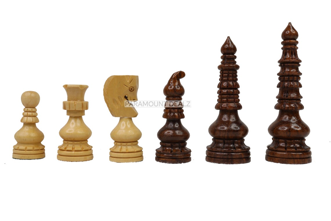 """Russian Theme 21"""" Wooden Chess Board with 3.75"""" Wooden Chess Pieces - Made from Premium Quality Sheesham Wood, Maple Wood and Golden Rosewood"""