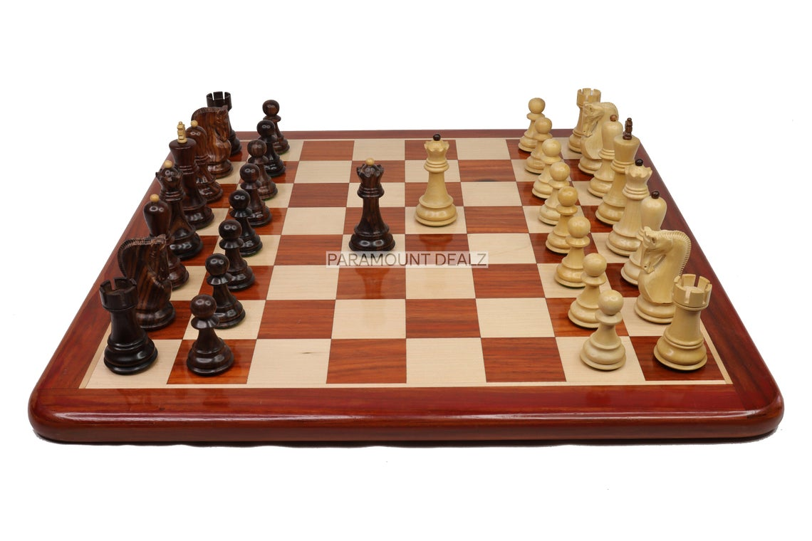 """21"""" Flat Style Personalized Wooden Chess Board Game Set with Zagreb 51' Chess Pieces and Chess Box - Handcrafted by Premium Quality Budrosewood"""