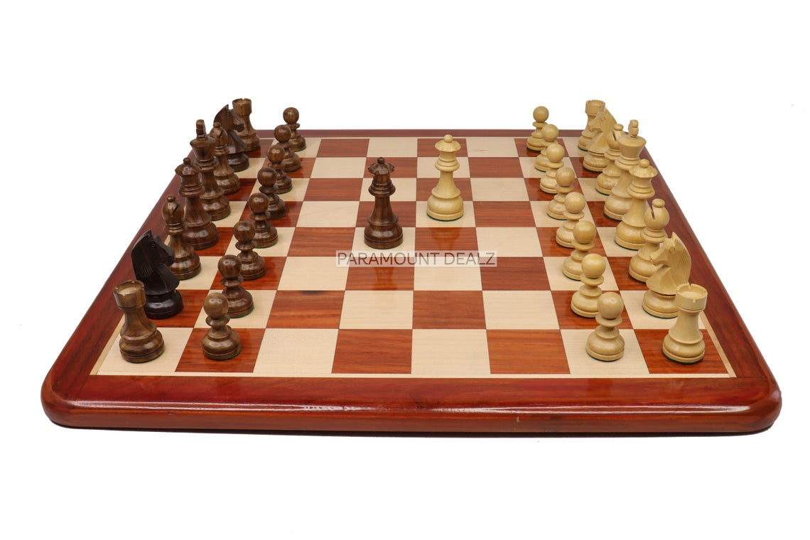 """21"""" Flat Style Wooden Chess Board Game Set with Staunton Chess Pieces and Chess Box - Handcrafted from Premium Quality Bud Rosewood and Maple Wood"""