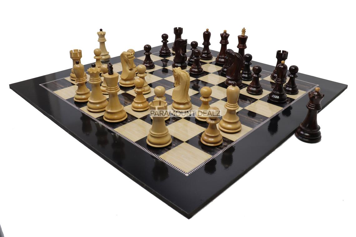"""Wooden Laminated 19"""" Chess Board Game Set - Handcrafted with 3.75"""" Russian Wooden Chess Pieces - Chess Pieces made from Premium Sheesham and Box wood"""