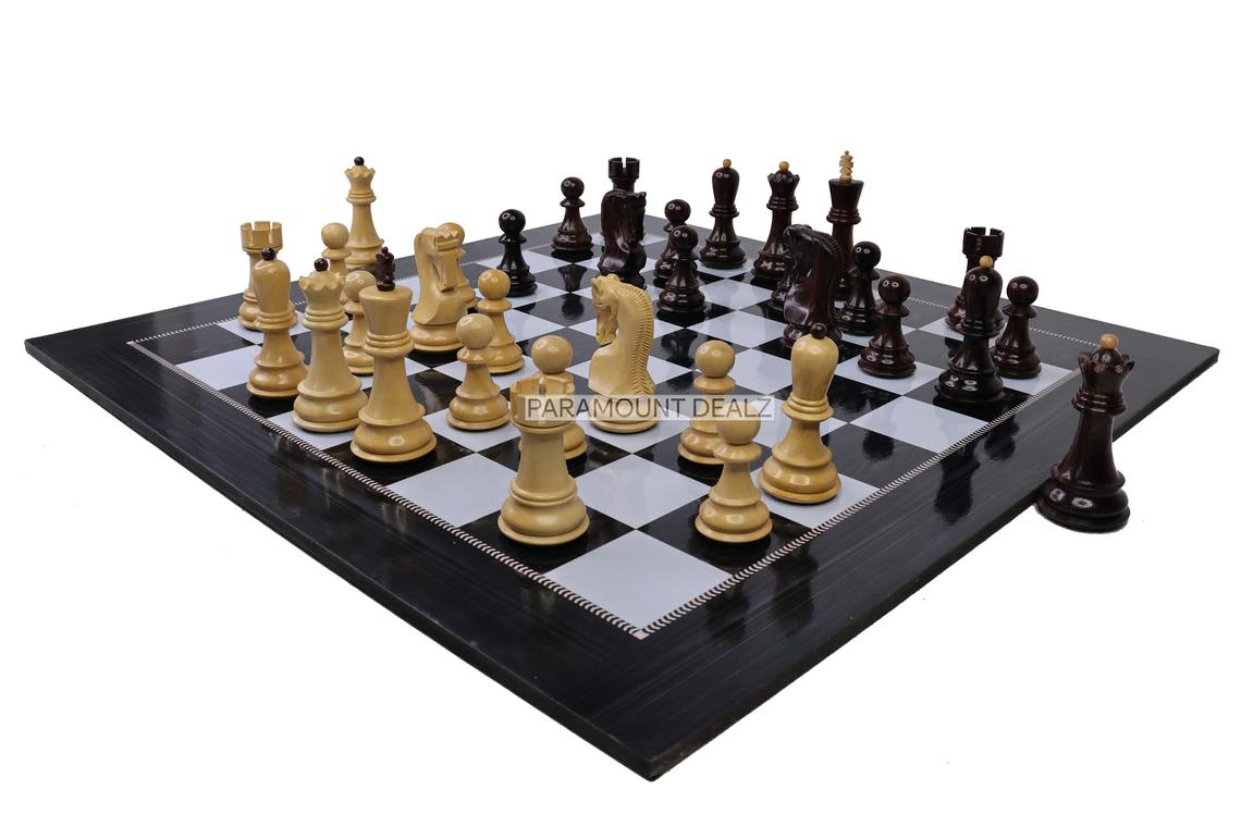 """Wooden Laminated 19"""" Chess Board Game Set - Handcrafted with 3.75"""" Russian Wooden Chess Pieces"""
