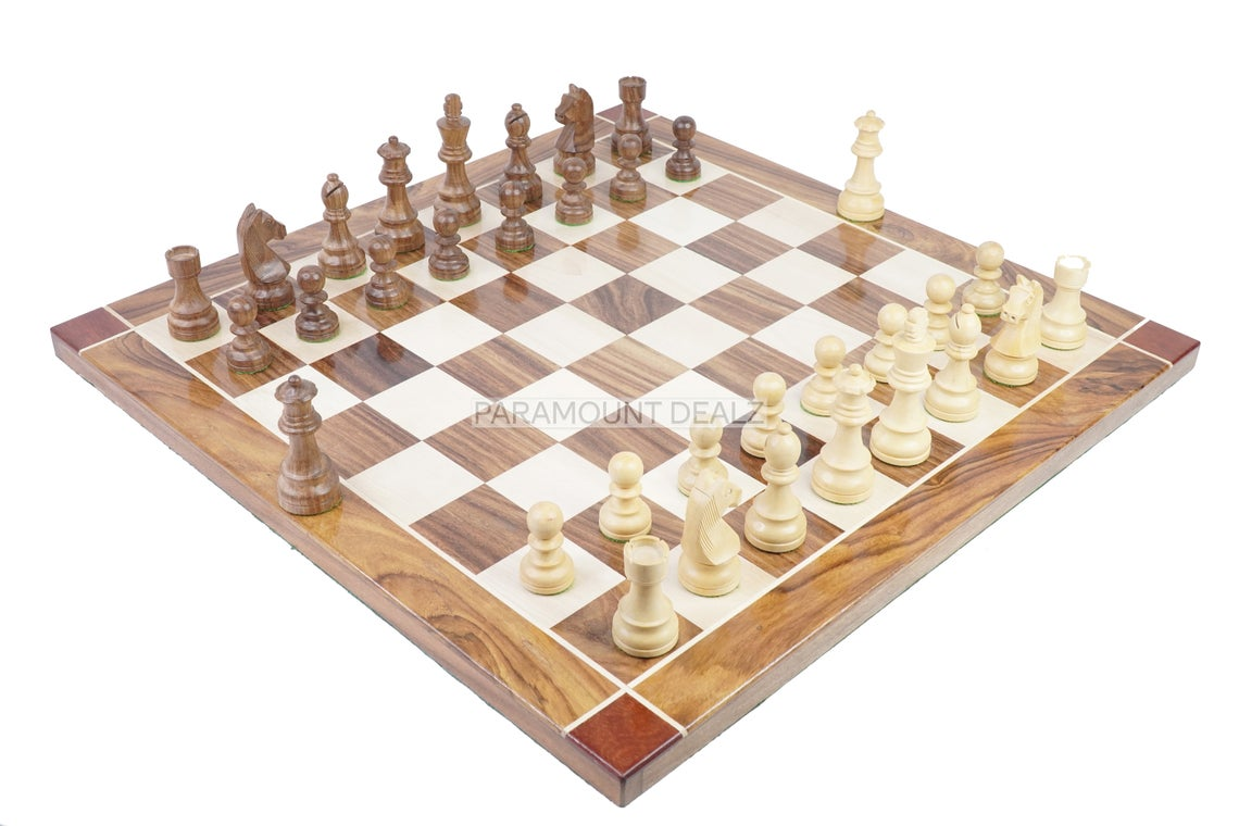 """Flat Style 21"""" Personalized Wooden Chess Board Game Set with Staunton Chess Pieces and Chess Box - Handcrafted from Premium Quality Sheesham Wood, Maple Wood and Golden Rosewood"""