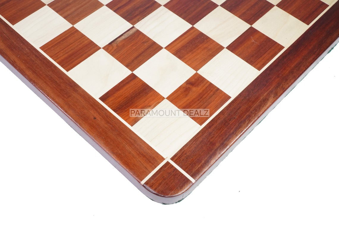 """Flat Style 21"""" Personalized Wooden Chess Board Game Set with Staunton Chess Pieces and Chess Box - Handcrafted from Premium Quality Bud Rosewood and Maple Wood"""