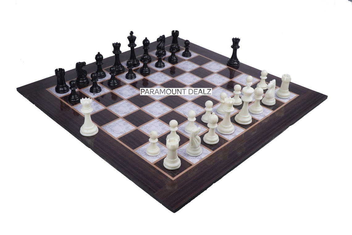 """Wooden Laminated 21"""" Chess Board Game Set  with 3.75"""" Plastic Chess Pieces  