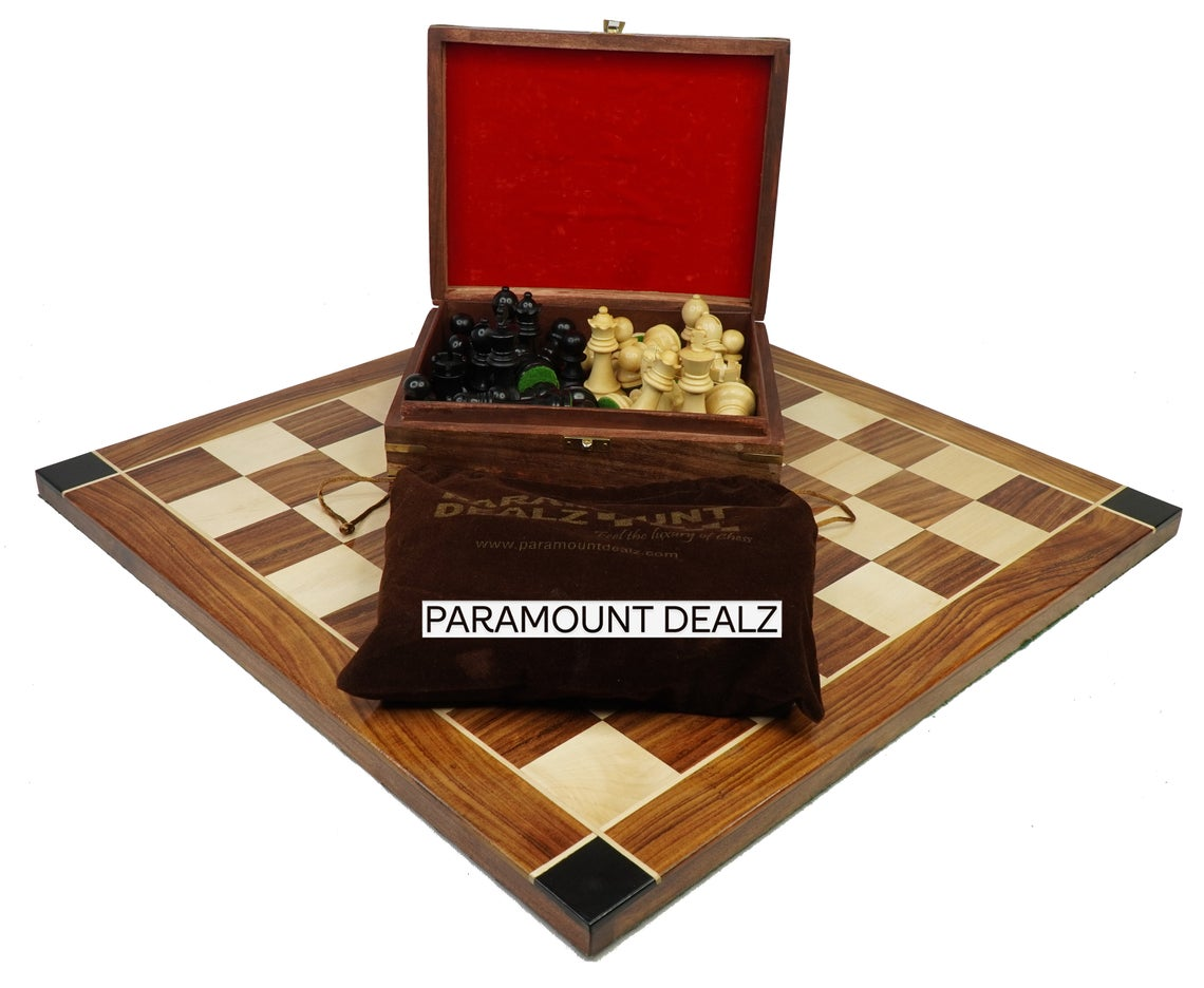 """Flat Style 21"""" Wooden Chess Board Game with 3.75"""" King Size Chess Pieces 