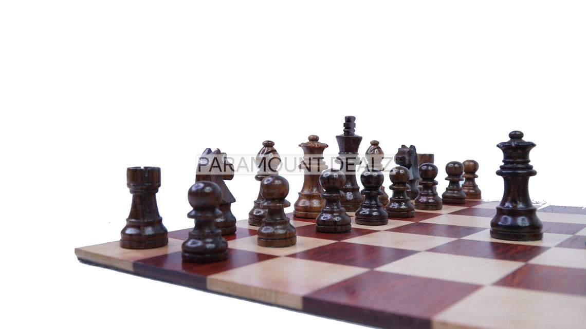 """12.5"""" Personalized Queen Gambit Roll Up Wooden Chess Board Game with  Staunton Style Chess Pieces 