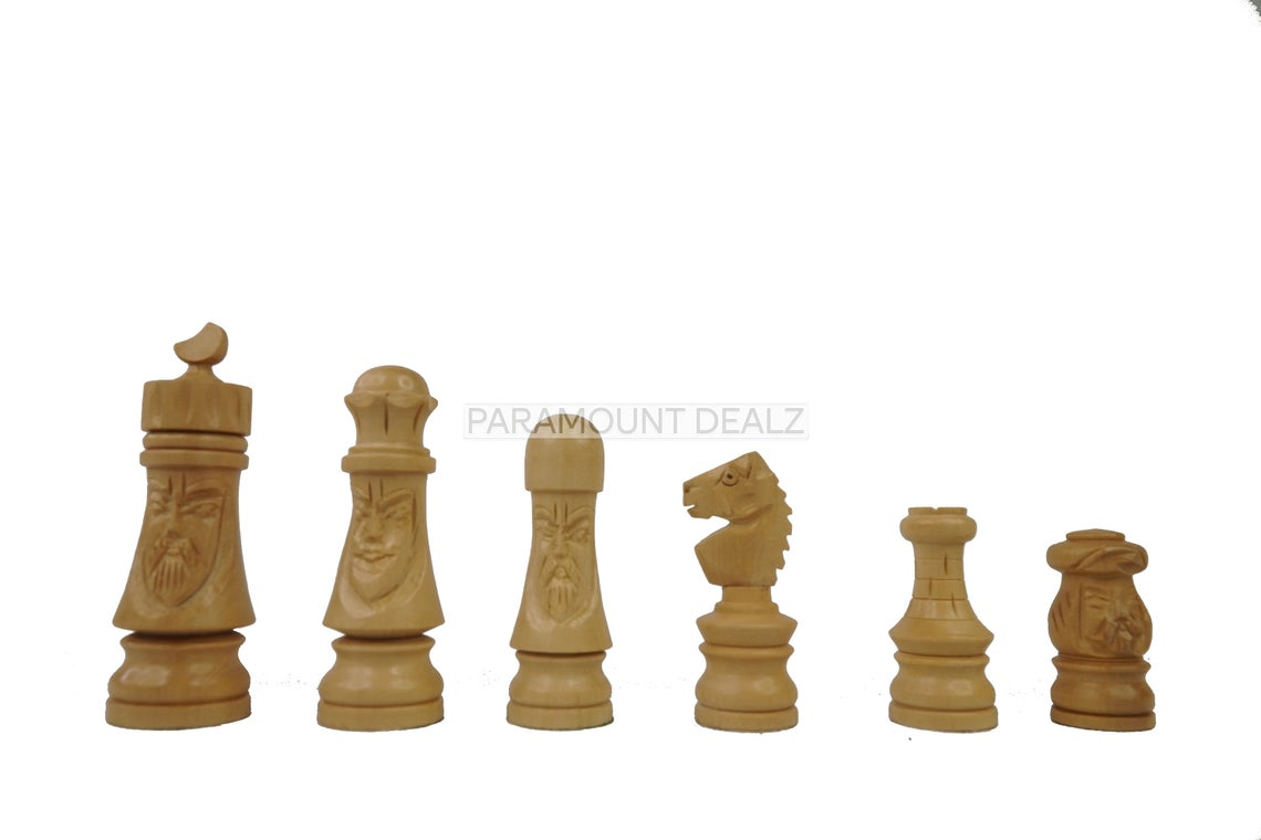 """19"""" Wooden Laminated Chess Board Game with Japanese Style Handcrafted Chess Pieces - Travel Friendly Chess Masterpiece 