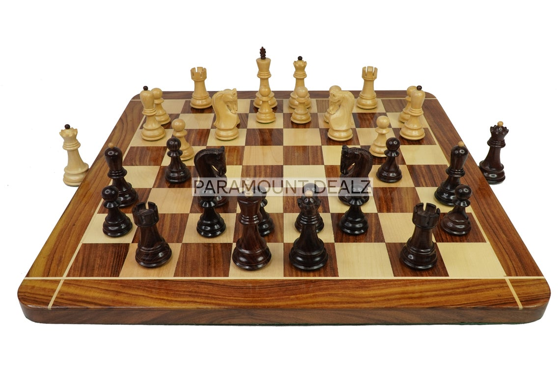 """21"""" Wooden Chess Board Game Set with Russian Chess Pieces   Superior Finish Handcrafted from Indian Rosewood, Box Wood and Maple Wood"""