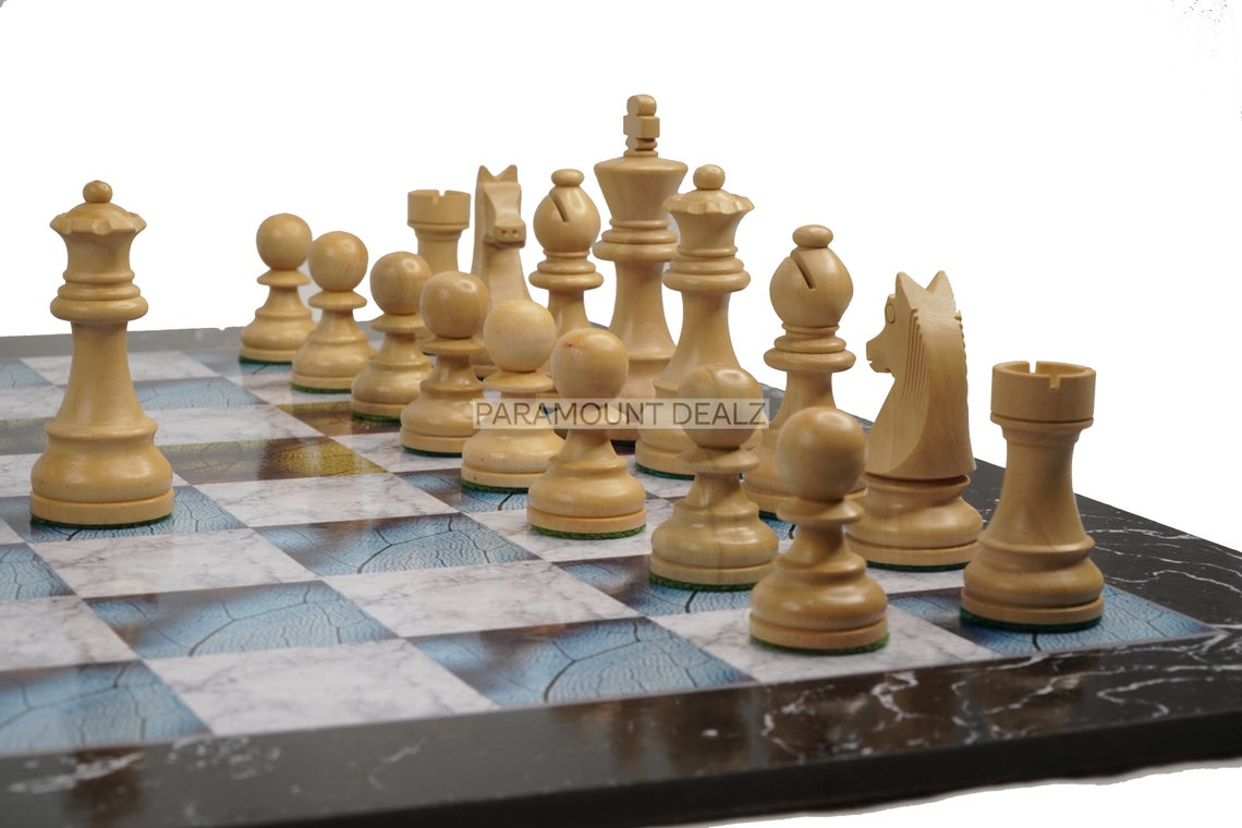"""19"""" Wooden Laminated Chess Board Game with 3.75"""" Staunton Style Wooden Chess Pieces 