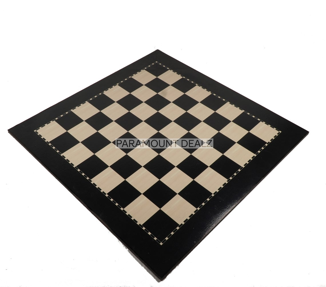 """19"""" Wooden Laminated Chess Board Game with 3.75"""" Staunton Style Wooden Chess Pieces and Chess Bag 