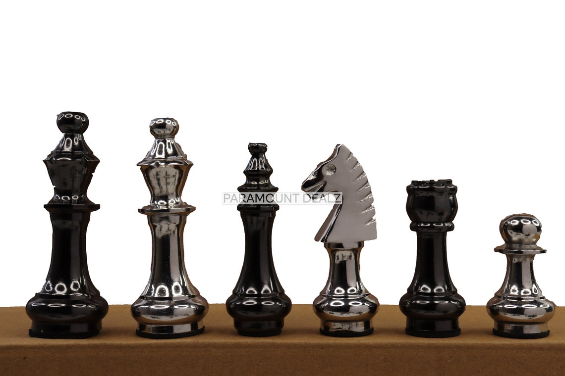 """Vintage Collection King Height 3.5"""" Handcrafted Aluminium Metal 32 Chess Pieces Set and Wooden Chess Pieces Box - 1 Kg (Without Chess Board)"""