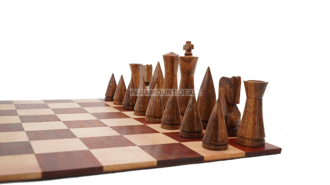 Classic Series Weight Cone Shaped Foldable Rollup Wooden Chess Board Game Set with 32 + 2 Extra Queen Wooden Chess Pieces, 1 Velvet Carry Pouch and 1 Wooden Chess Box