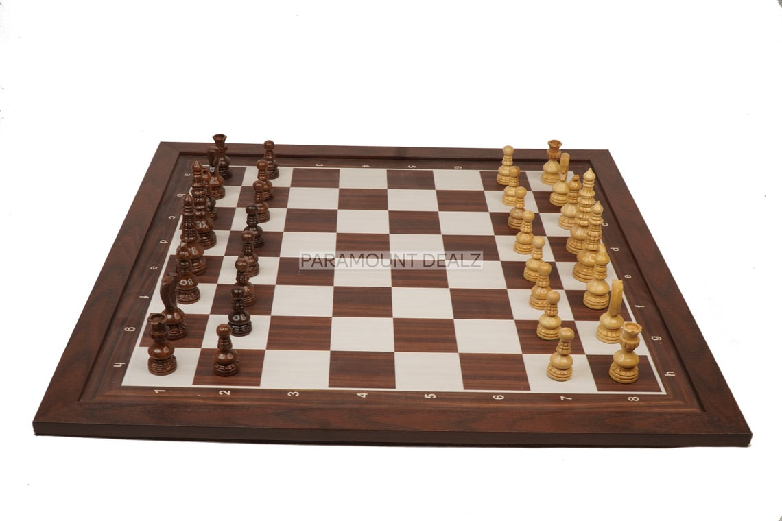 """Minar Style Pattern Seamless Design Chess Board Game Set - 3.5"""" King Size Wooden Chess Pieces Set with 21"""" Wooden Laminated Chess Board, Carry Pouch"""