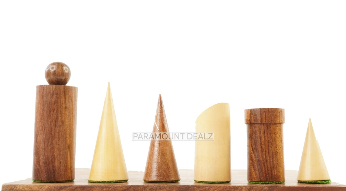 """Geometric Minimalist Pattern Seamless Design 32 + 2 Extra Queens 3.4"""" King Size Wooden Chess Pieces Set with Velvet Chess Pouch and Sheesham Wooden Chess Box"""