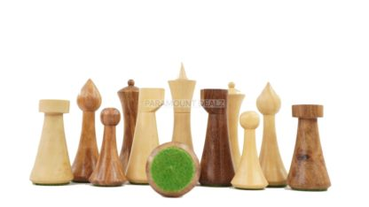 """Minimalist Hermann Ohme Design 32 + 2 Extra Queens 3.75"""" King Size Wooden Chess Pieces Set with Velvet Carry Pouch and Sheesham Wooden Chess Box"""