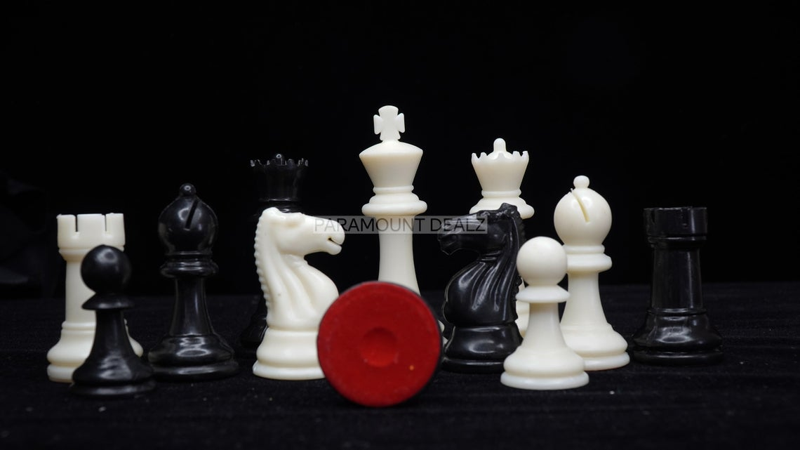 """FIDE Standard Classic 3.75"""" King Size Handcrafted Premium Quality Plastic 32 Chessmen Chess Pieces with Velvet Chess Carry Pouch"""
