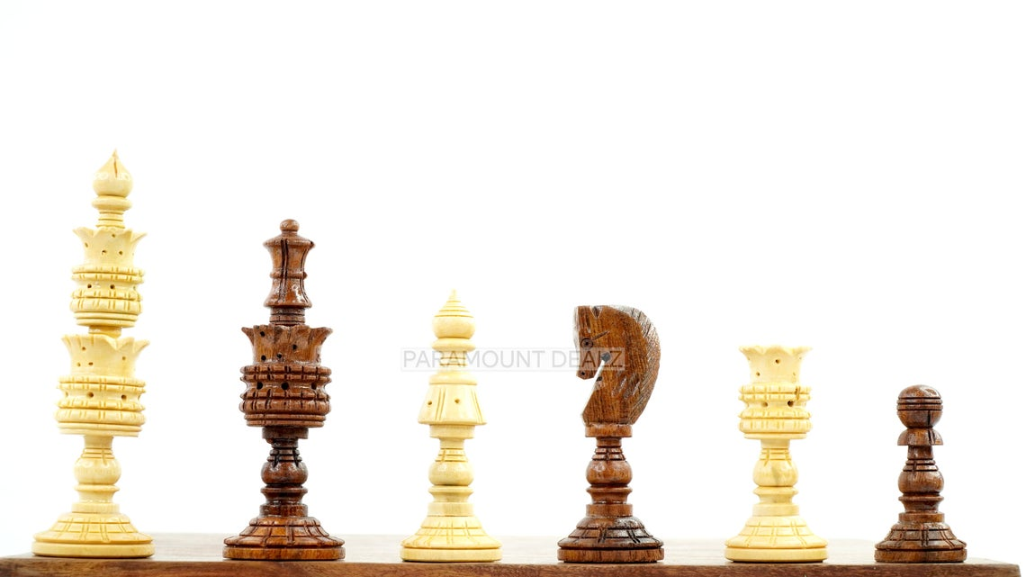 """Lotus Style Series 4"""" King Size Handmade Wooden 32 Chessmen Chess Pieces Set with Velvet Carry Pouch and Sheesham Wooden Chess Box - Designed for Professional Players"""