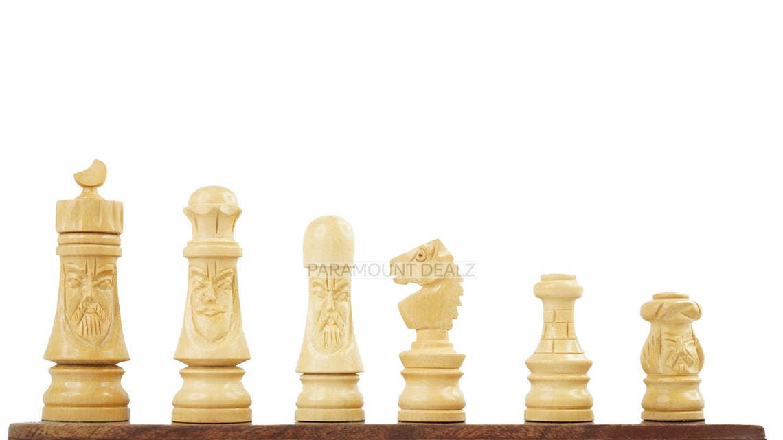 """Face Series 3"""" King Size Handmade 32 Chessmen Wooden Chess Pieces with Velvet Carry Pouch and Sheesham Wood Chess Box - Designed for Professional Players"""