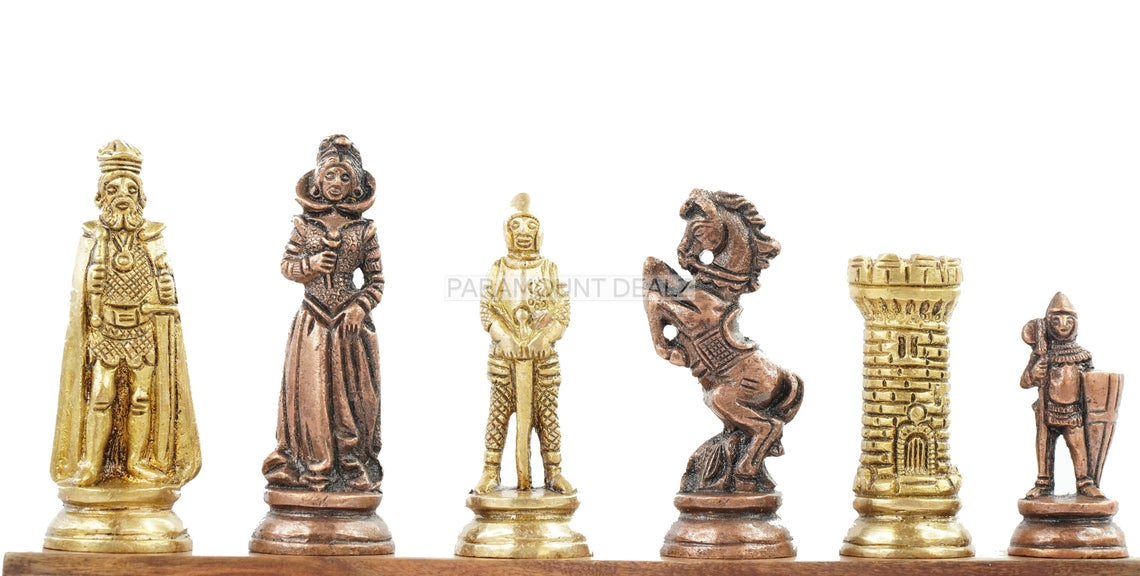 """English Elite Luxury Series 4"""" King Size Chess Pieces - Heavy Weighted 32 Brass Metal Chess Pieces with Velvet Carry Pouch and Sheesham Wooden Chess Box (Chess Board Not Included)"""