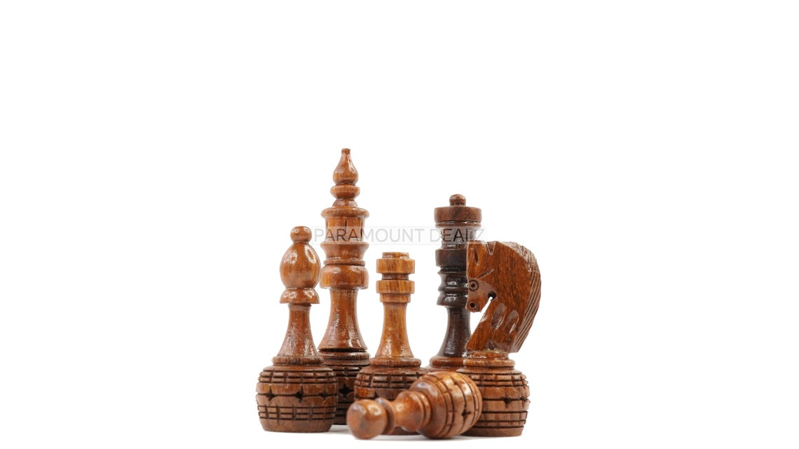 """3.5"""" King Size Handmade 32 Chessmen Wooden Chess Pieces with Velvet Carry Pouch and Sheesham Wooden Chess Box - Designed for Professional Players"""