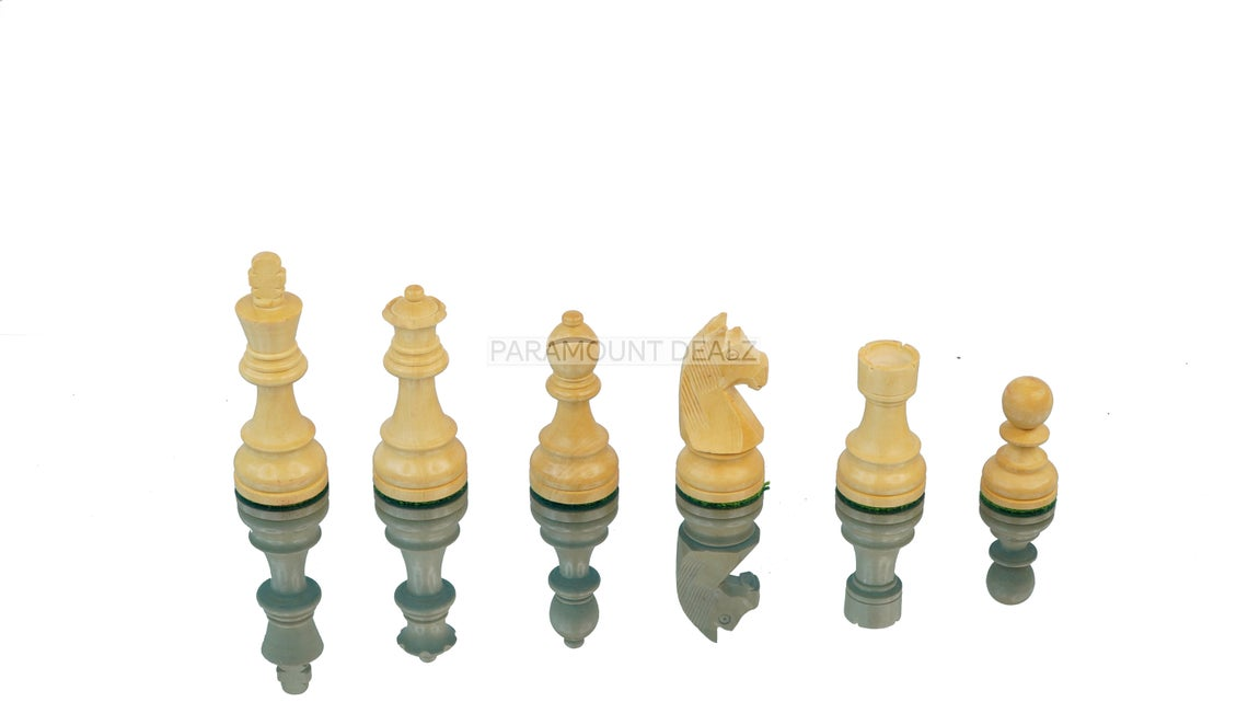 """Tournament Series Handmade Wooden Weighted 3.75"""" King Size 32 + 2 Extra Queens German Knight Chess Pieces with Velvet Carry Pouch and Sheesham Wood Chess Box"""