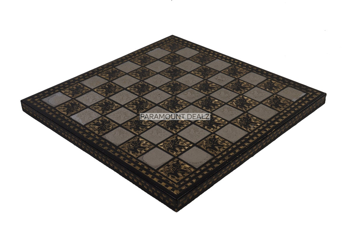 """Vintage Collection Hand Etched 12"""" Chess Board Without Chess Pieces - Handcrafted by Premium Quality Solid Brass Metal"""