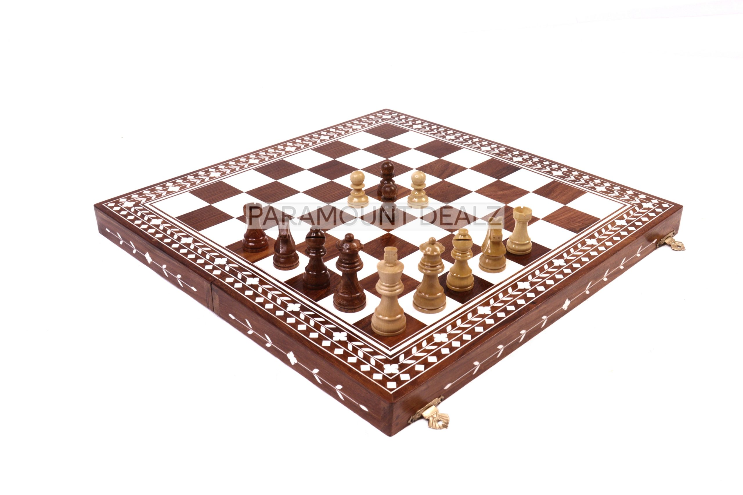 SOLID SHEESHAM & ACRYLIC IVORY INLAID WOODEN FOLDING CHESS SET WITH WOODEN STAUNTION COINS (Copy)