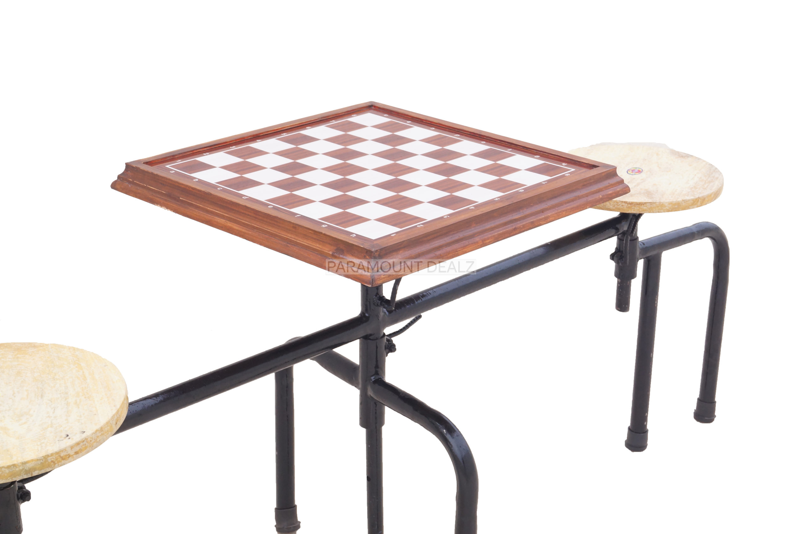 Queen's Gambit Metallic Premium Chess Table with 2 attached stools