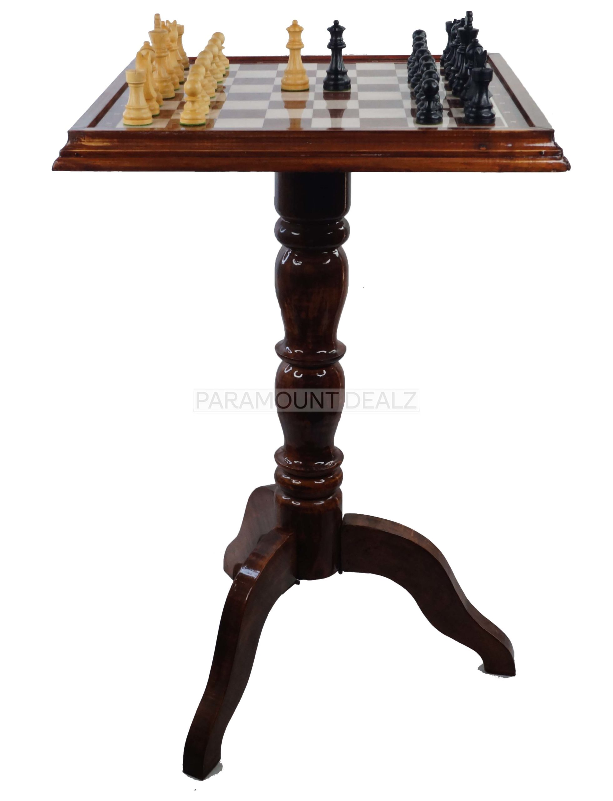 """WOODEN LUXURIOUS CHESS TABLE WITH 21"""" WOODEN LAMINATED BOARD (SOLID WOODEN FRAME) & WOODEN CHESS PIECES (Copy)"""