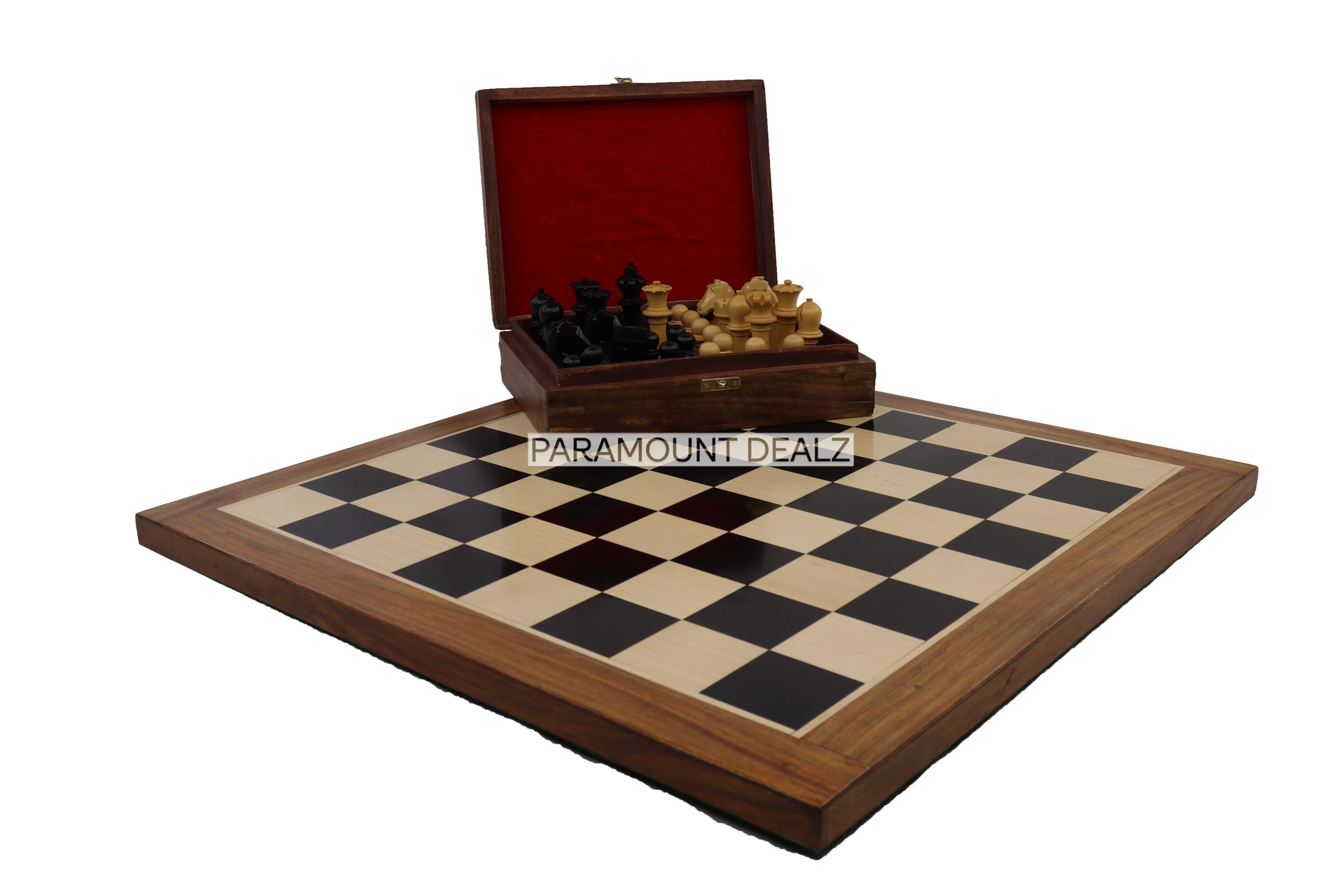 """LIMITED EDITION OFFICIAL WORLD CHAMPIONSHIP WOODEN CHESS PIECES SET WITH TRIPLE COLOR WOODEN CHESS BOARD-3.75"""" KING -2 EXTRA QUEENS - VELVET POUCHSL"""